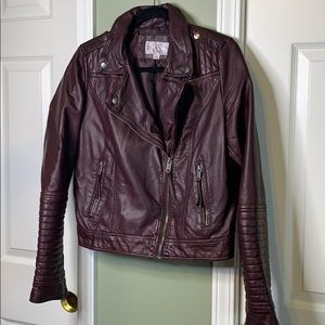 Maroon oil rubbed faux leather jacket